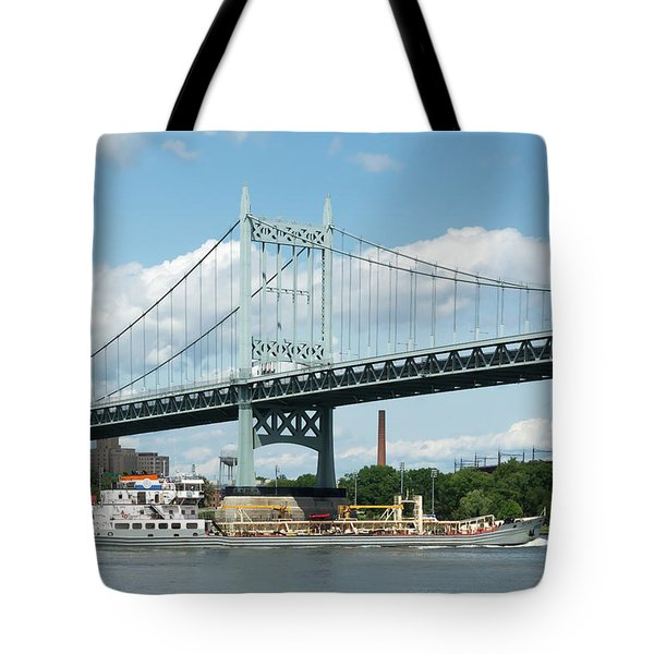 Water And Ship Under The Bridge Tote Bag