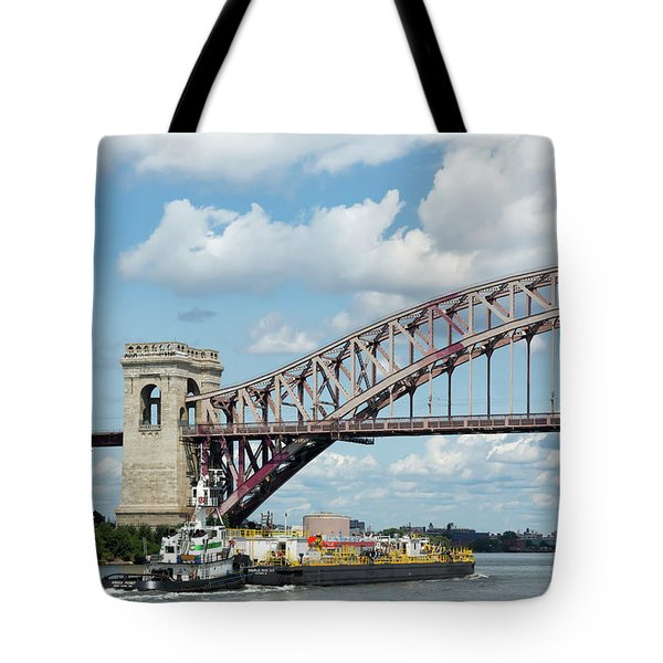 Hell Gate Bridge And Barge Tote Bag