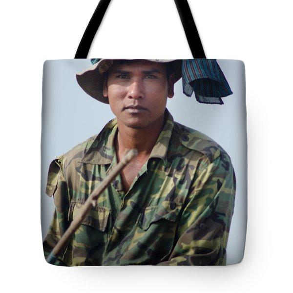 Water Buffalo Driver In Cambodia Tote Bag