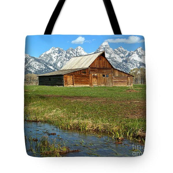 Water By The Barn Tote Bag by Adam Jewell