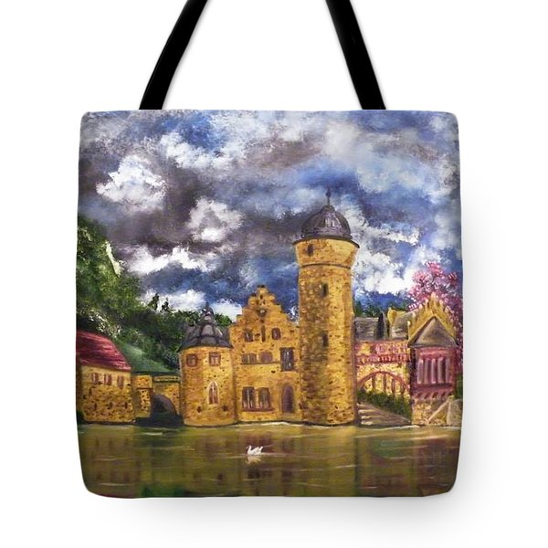 Tote Bag featuring the painting Water Castle Mespelbrunn by The GYPSY And DEBBIE