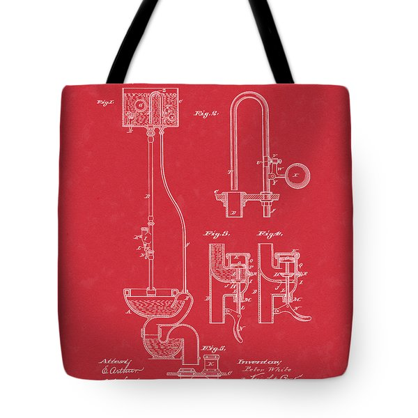 Water Closet Patent Art Red Tote Bag