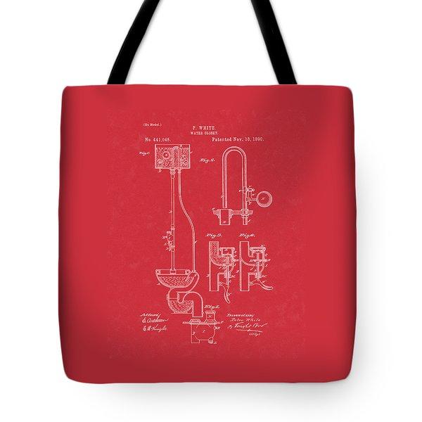 Water Closet Patent Art Red Tote Bag