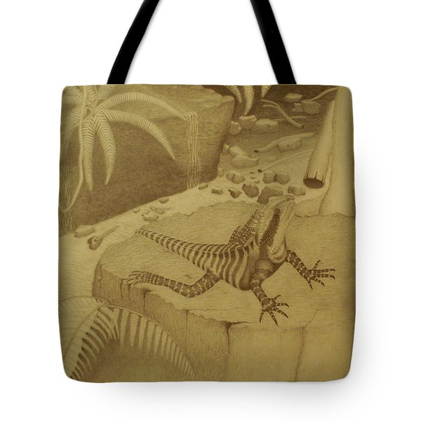 Water Dragon Lizard Tote Bag by Brian Leverton