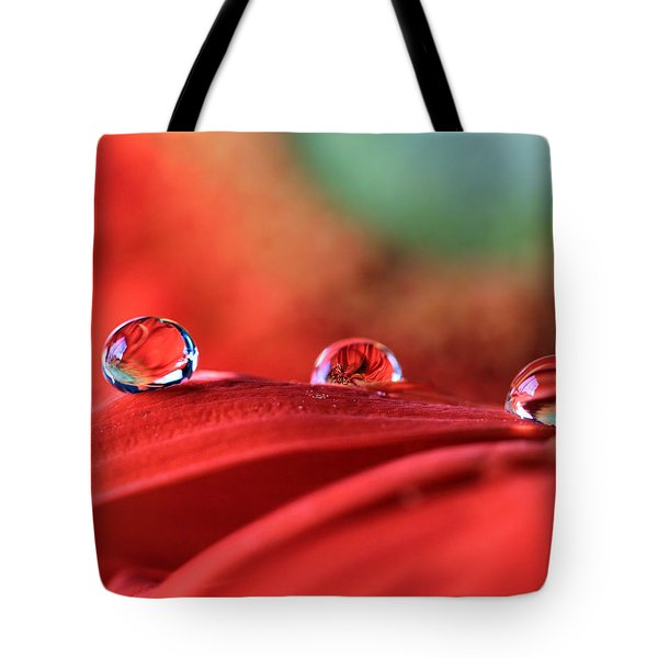 Water Drop Reflections Tote Bag