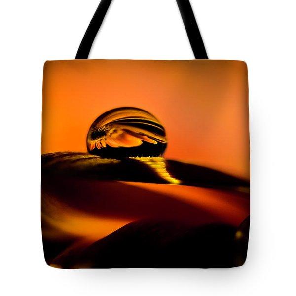 Water Drop On Orange Tote Bag