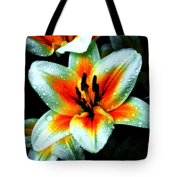 Water Droplet Covered White Lily  Tote Bag