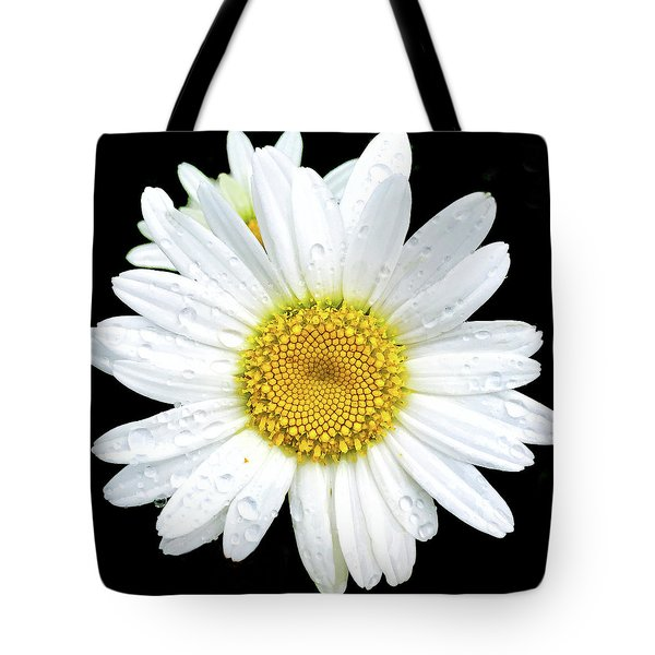 Water Droplets On Flower Tote Bag