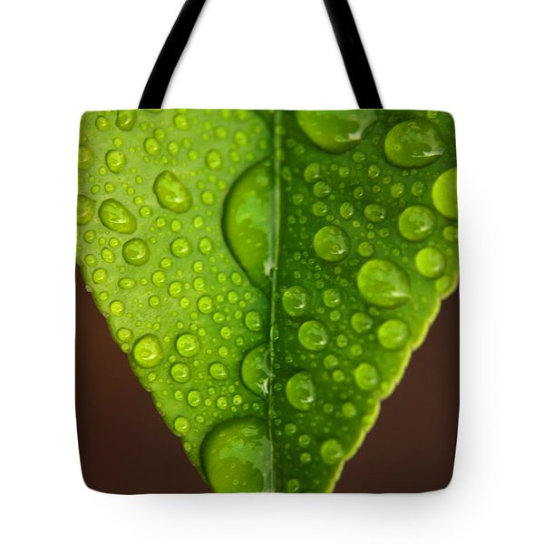 Water Droplets On Lemon Leaf Tote Bag