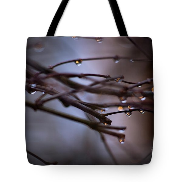 Water Droplets On Twigs V Tote Bag