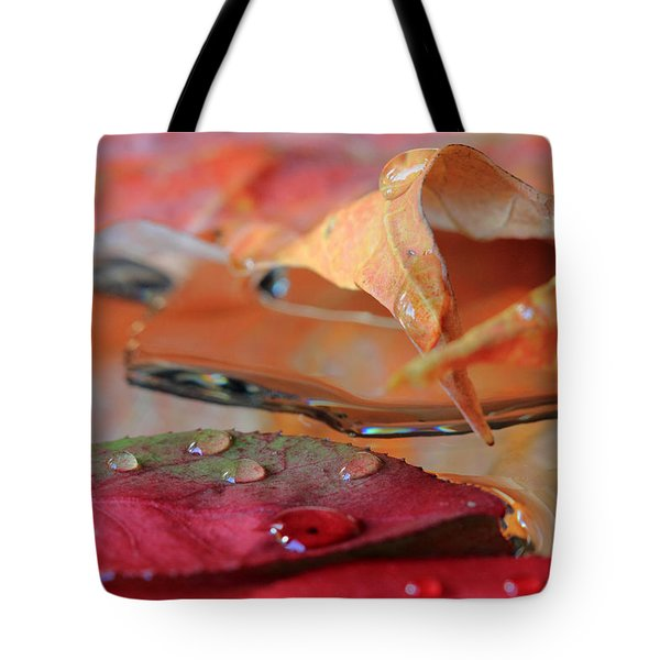 Water Drops On Autumn Leaves Tote Bag
