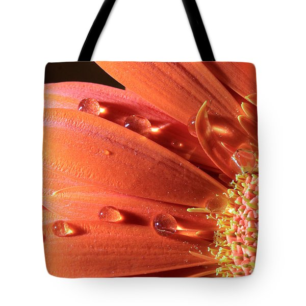 Water Drops On Colorful Flower Petals Tote Bag