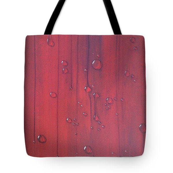 Water Drops On Red Tote Bag by T Fry-Green