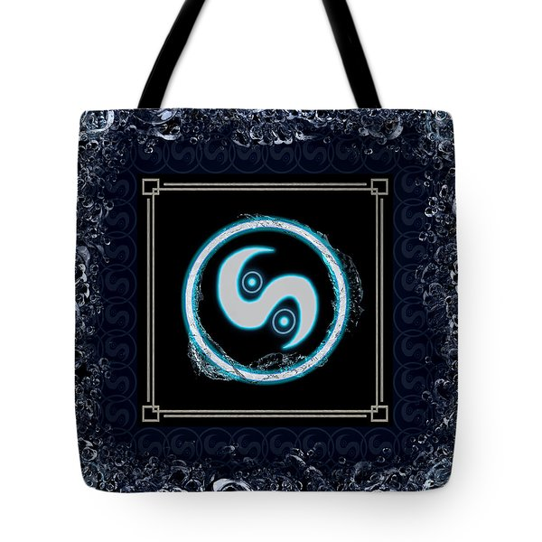 Tote Bag featuring the digital art Water Emblem Sigil by Shawn Dall