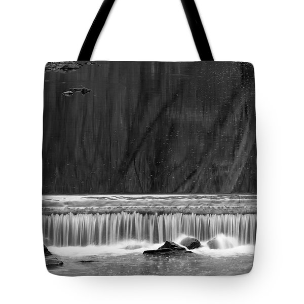Tote Bag featuring the photograph Water Fall In Black And White by Dorin Adrian Berbier