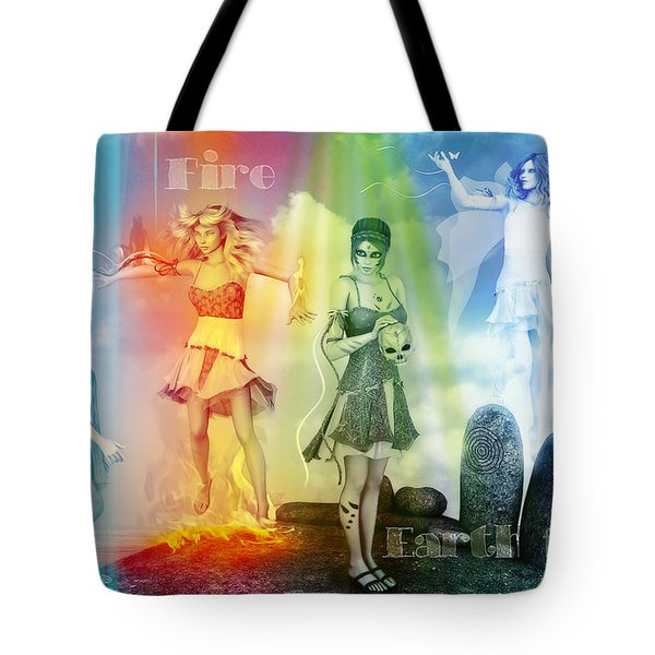 Water Fire Earth And Air Tote Bag