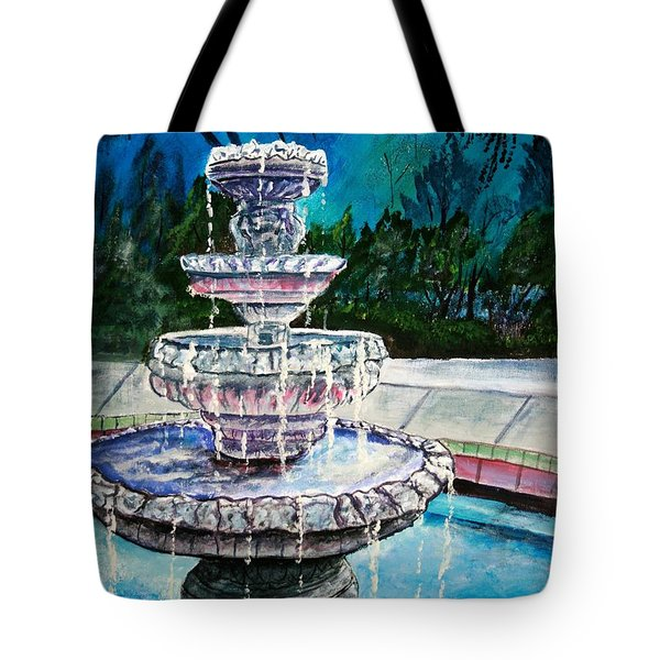 Water Fountain Acrylic Painting Art Print Tote Bag by Derek Mccrea