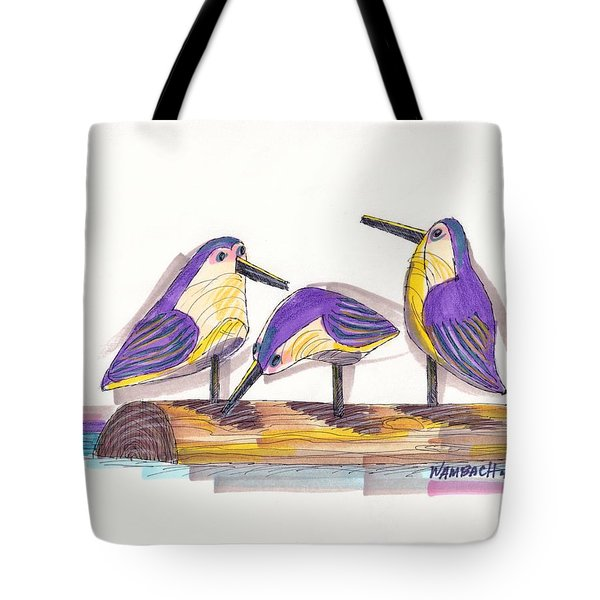 Tote Bag featuring the drawing Water Fowl Motif #2 by Richard Wambach