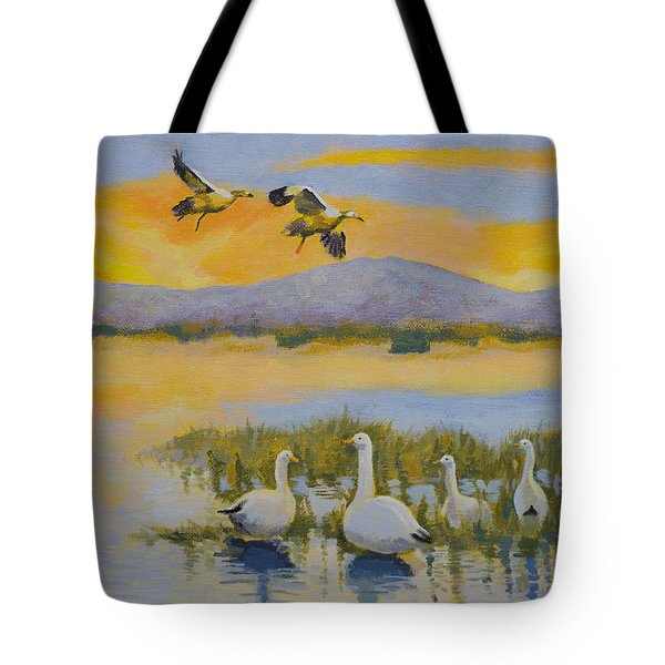 Water Fowl, Sutter Buttes Tote Bag