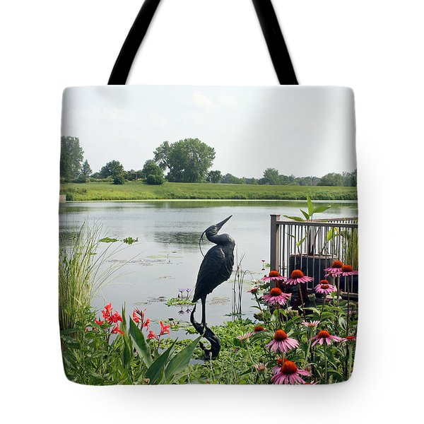 Water Garden With Crane Tote Bag