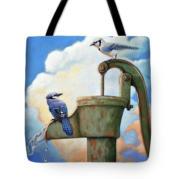 Tote Bag featuring the painting Water Is Life #3 -blue Jays On Water Pump Painting by Linda Apple