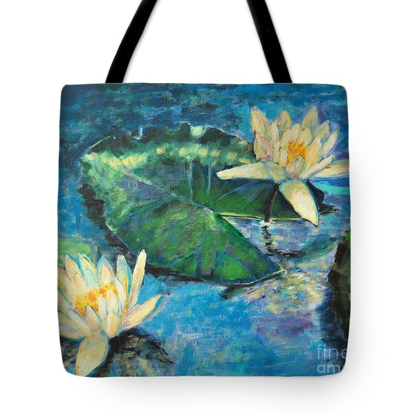 Tote Bag featuring the painting Water Lilies by Ana Maria Edulescu