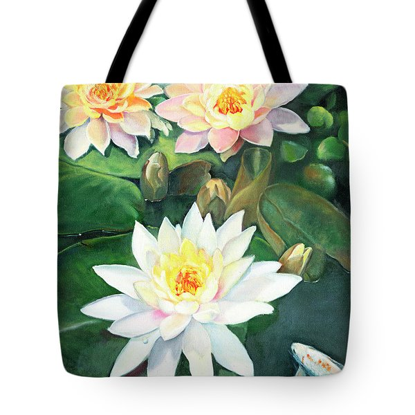 Tote Bag featuring the painting Water Lilies And Koi by Marlene Book