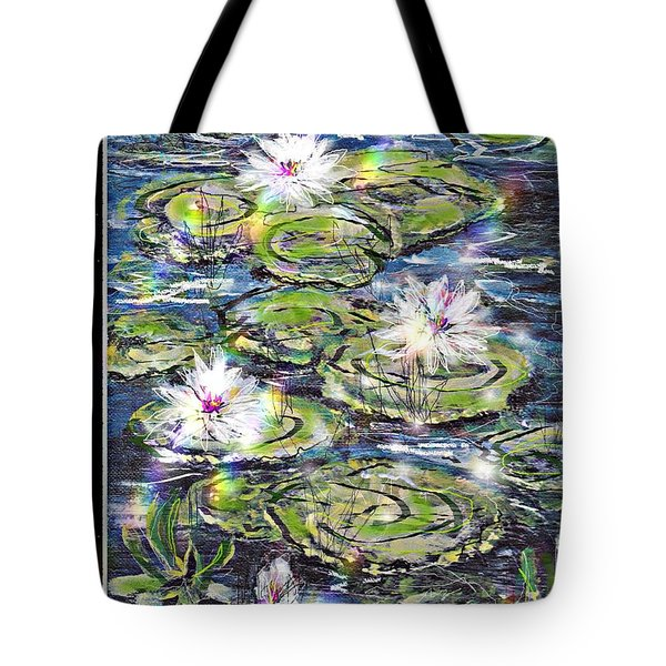 Water Lilies And Rainbows Tote Bag