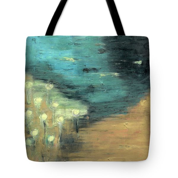 Tote Bag featuring the painting Water Lilies At The Pond by Michal Mitak Mahgerefteh