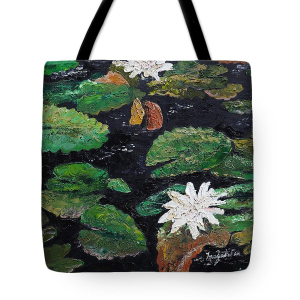 Tote Bag featuring the painting water lilies II by Marilyn Zalatan