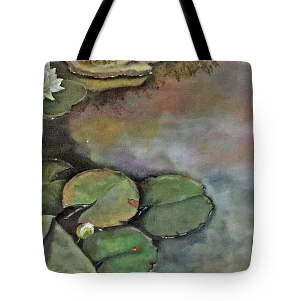 Tote Bag featuring the painting Water Lilies Late Afternoon by Marlene Book