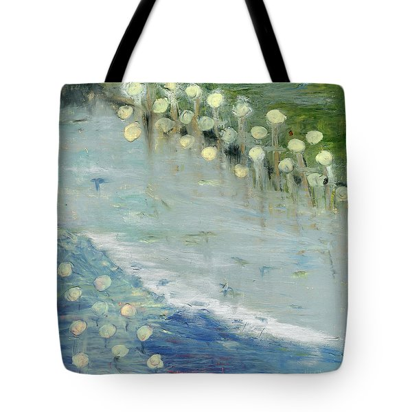 Tote Bag featuring the painting Water Lilies by Michal Mitak Mahgerefteh