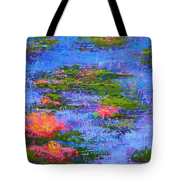 Tote Bag featuring the painting Waterlilies Lily Pads - Modern Impressionist Landscape Palette Knife Work by Patricia Awapara