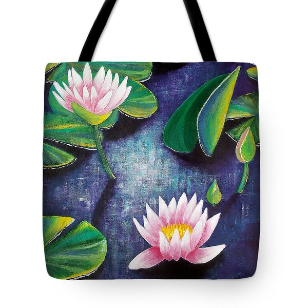 Tote Bag featuring the painting Water Lilies by Susan DeLain