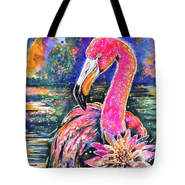 Tote Bag featuring the painting Water Lily And Flamingo by Zaira Dzhaubaeva