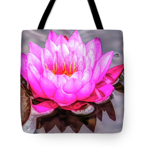 Water Lily In The Rain Tote Bag