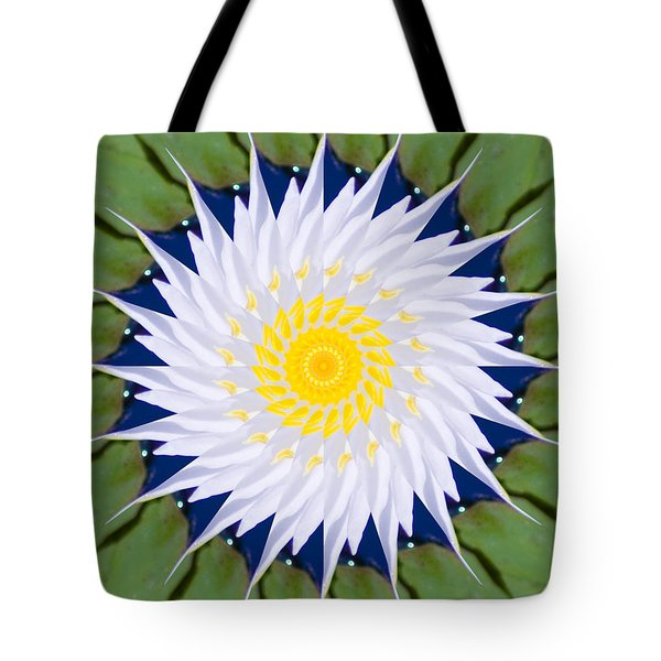 Water Lily Kaleidoscope Tote Bag by Bill Barber