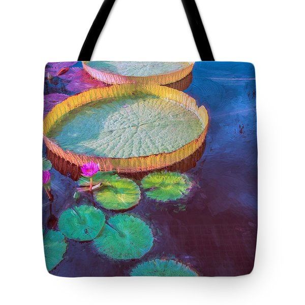 Water Lily Pattern Tote Bag