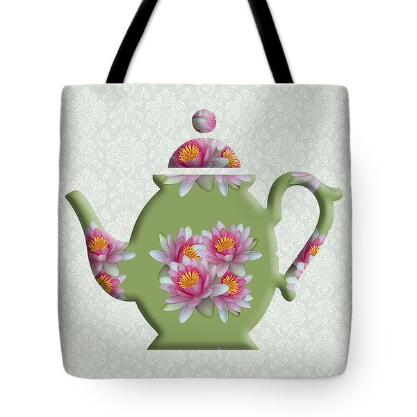 Water Lily Pattern Teapot Tote Bag