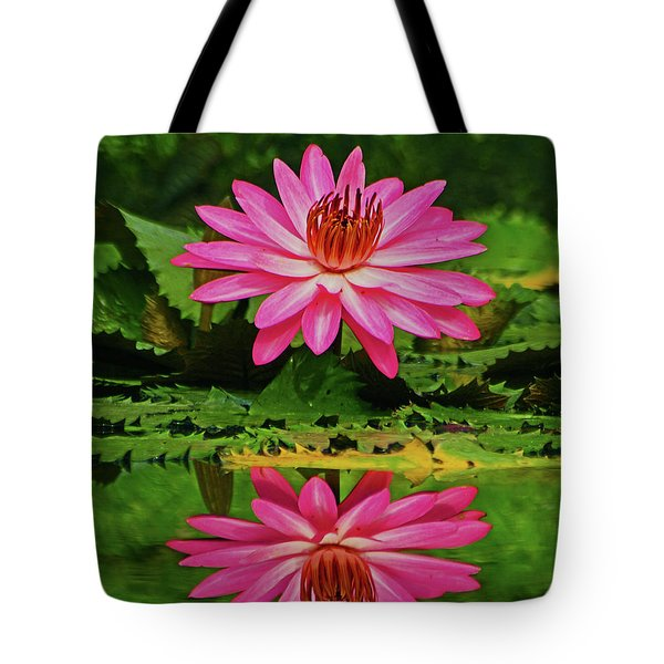 Hot Pink Water Lily Reflection Tote Bag by Larry Nieland