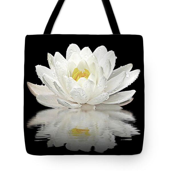 Water Lily Reflections On Black Tote Bag by Gill Billington