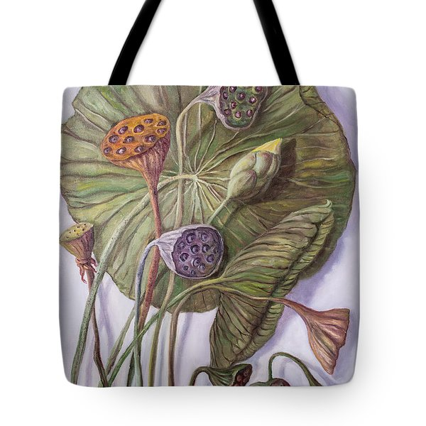 Water Lily Seed Pods Framed By A Leaf Tote Bag