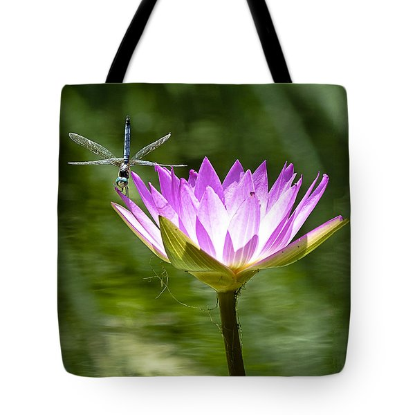 Tote Bag featuring the photograph Water Lily With Dragon Fly by Bill Barber
