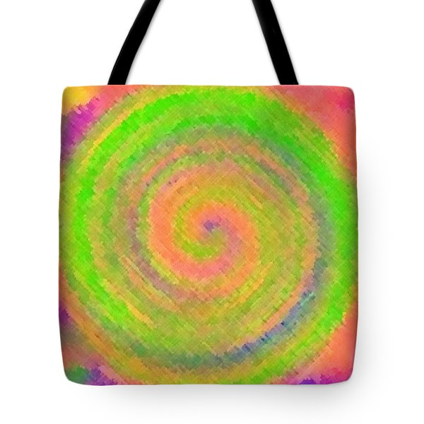 Tote Bag featuring the digital art Water Melon Whirls by Catherine Lott