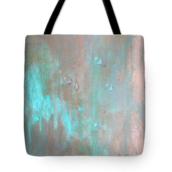 Water On Copper Tote Bag by T Fry-Green