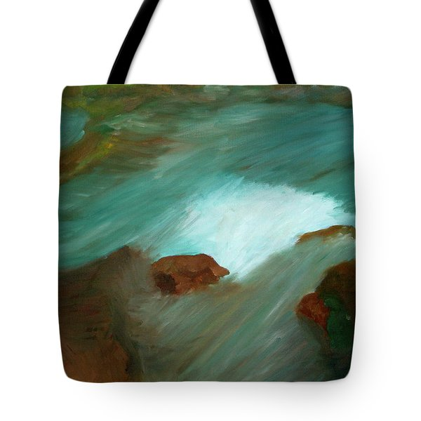 Water Over The Rocks Tote Bag