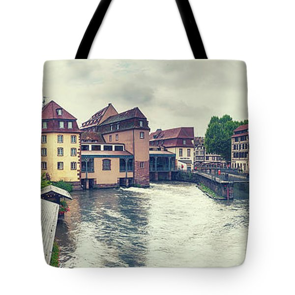 Tote Bag featuring the photograph water panorama in Strasbourg  by Ariadna De Raadt