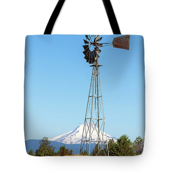 Water Pump Windmill In Central Oregon Farm Tote Bag by David Gn