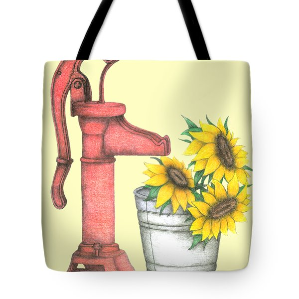 Water Pump With Sunflowers Tote Bag