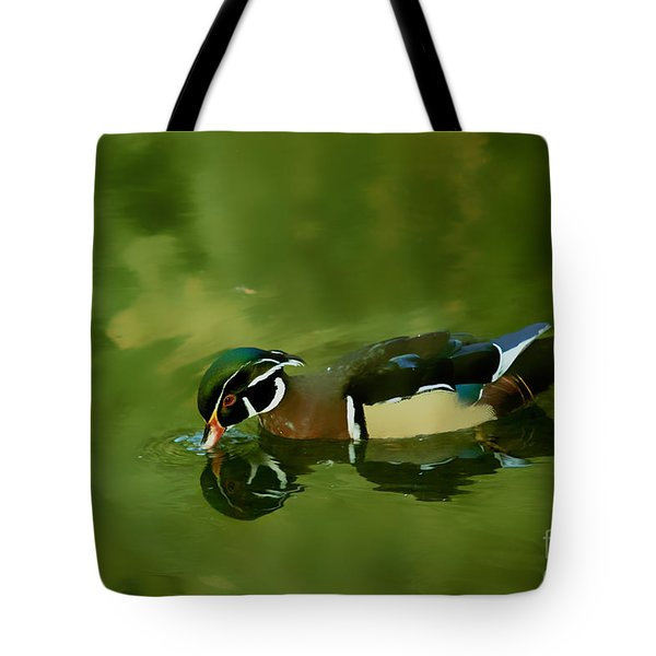 Male Wood Duck Water Reflections Tote Bag by Claudia Ellis